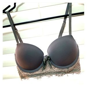 AERIE Gray Bow Push Up Bra
